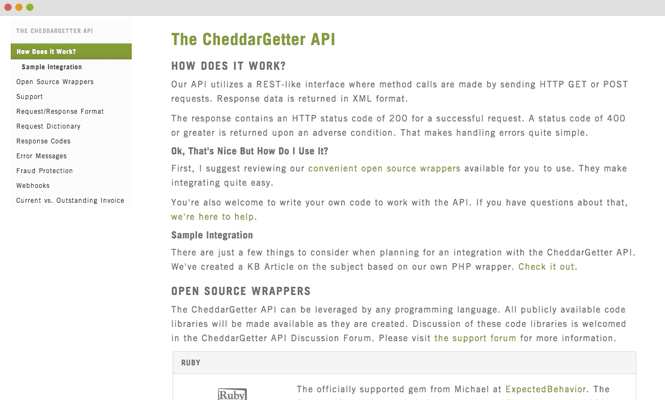 CheddarGetter's Well-Documented API